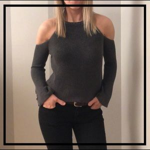 AEO Stylish Gray Cold Shoulder Sweater